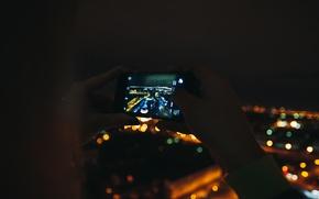 Картинка ночь, город, айфон