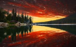 Картинка лес, небо, вода, облака, деревья, закат, горы, природа, парк, отражение, река, дома, colors, forest, river, …
