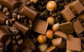 Обои кофейные зерна, sweet, лесной орех, шоколад, сладкое, chocolate