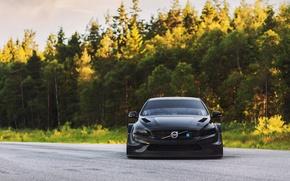 Картинка дорога, лес, тюнинг, вид, Volvo, black, tuning, S60, 2016, Polestar