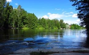 Картинка лес, небо, облака, деревья, пейзаж, дом, река, камни, финляндия, finland, langinkoski