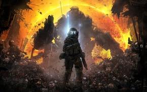 Картинка солнце, пепел, оружие, солдаты, Меха, пилот, трупы, бойцы, Electronic Arts, Атлас, Титан, Atlas, Respawn Entertainment, …