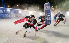 Картинка гонка, лёд, red, ice, хоккей, race, зрители, usa, коньки, bull, hockey, Миннесота, редбулл, redbull, skates, ...