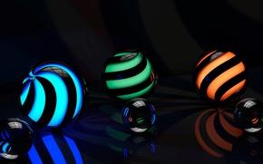 Картинка поверхность, линии, отражение, спирали, рендеринг, узоры, графика, шар, свечение, подсветка, изгибы, сфера, отблески, отсветы