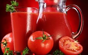 Обои красный, сок, томаты