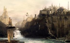 Картинка река, водопад, поток, крепость, стамбул, аэробус