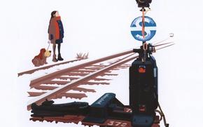 Картинка зима, снег, рельсы, поезд, собака, стрелка, белый фон, art, семафор, деочка, Satoshi Yuzuriha