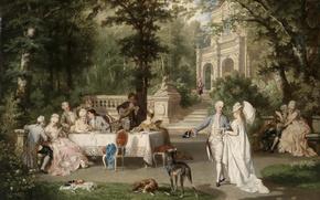 Картинка парк, Галантное общество в Шлосспарке, 19-th century, беседа, 19-й век, борзые, Austria, trees, дворец, table, ...