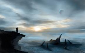 Картинка небо, скала, фантастика, человек, планета, горизонт, силуэт, арт