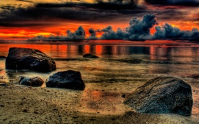 Обои море, тучи, озеро, hdr, зарево, камни