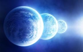 Обои космос, звезды, свет, планеты, спутник, три