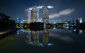 Обои ночь, огни, Сингапур, отель, Marina Bay