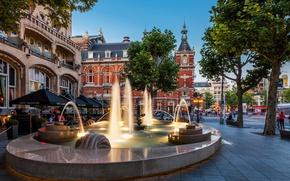 Обои город, Амстердам, кафе, фонтан, отель, Нидерланды, архитектура, Amsterdam, Nederland, American Hotel