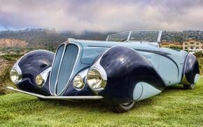 Картинка небо, ретро, фон, Кабриолет, передок, Cabriolet, красивая машина, 1937, by Figoni & Falaschi, 135M, Делай, ...