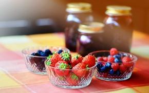 Картинка ягоды, малина, черника, клубника, ежевика, варенье, пиалы