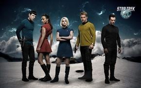Обои постер, Стартрек: Возмездие, Зои Салдана, Элис Ив, Star Trek Into Darkness, Chris Pine, звезды, облака, ...