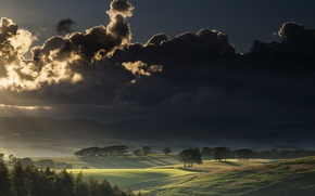 Картинка поле, небо, пейзаж, закат, тучи, природа, долина