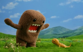 Обои трава, domo-kun, ящерик