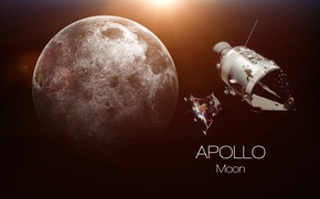 Обои moon, Apollo, humanity, dream fulfilled