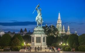 Картинка Австрия, деревья, люди, Хофбург, огни, вечер, ратуша, Вена, памятник