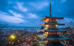 Картинка свет, закат, Япония, пагода