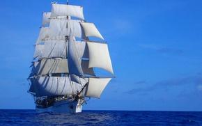 Картинка sky, sea, ship, sails