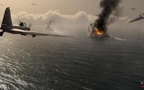 Картинка небо, война, штурмовик, Арт, советский, поршневой, одномоторный, Ильюшин, War Thunder, Ил-2, hibikirus