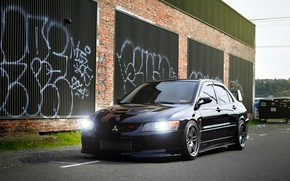 Обои черный, Mitsubishi, Lancer, Evolution, Beautiful, Style, Лансер, JDM, Эволюшен, Митсубиши, black. frontside