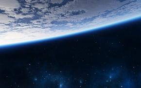Картинка Облака, Звезды, Планета