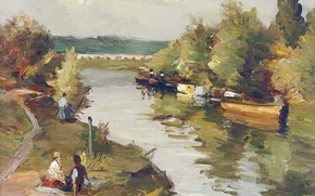 Картинка деревья, пейзаж, река, люди, лодка, картина, тропинка, Марсель Диф, Влюбленные на речном берегу