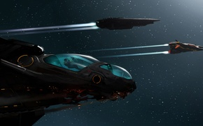 Картинка космос, звезды, полет, человек, корабли, арт, elite, dangerous, Ryvax