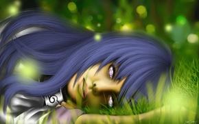 Картинка трава, девушка, арт, naruto, лежа, hyuuga hinata, hinata