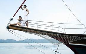 Картинка море, девушка, отдых, женщина, яхта, катер, мужчина, парень, курорт