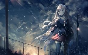 Картинка небо, девушка, облака, город, дома, аниме, арт, косички, vocaloid, ccrgaoooo, c.c.r