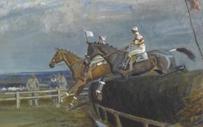 Обои картина, Скачки в Хетерсетте, жанровая, Эдуард Сиго