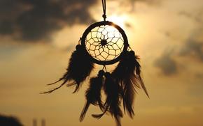 Картинка небо, солнце, перья, талисман, амулет, Dreamcatcher, ловец снов
