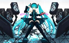 Картинка девушка, колонки, vocaloid, hatsune miku, вокалоид, мониторы