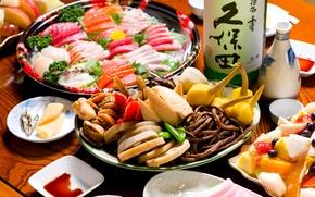 Обои блюда, ассорти, фрукты, морепродукты, рыба, японская кухня