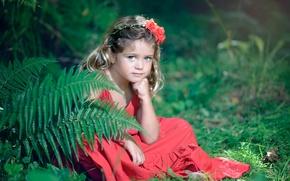 Картинка взгляд, цветы, природа, девочка