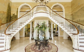 Картинка цветы, дизайн, лестница, роскошь, холл