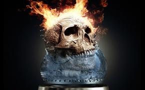 Обои Огонь, Fire, Череп, Пламя, Skull