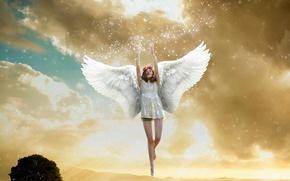 Обои ангел, крылья, небо, полёт