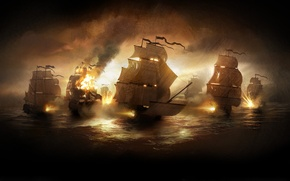 Обои океан, огонь, корабли, закат