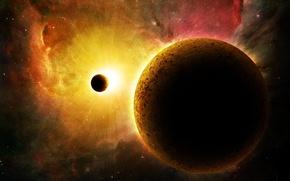Картинка солнце, космос, планета, спутник, галактика