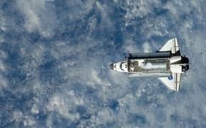 Картинка Спейс шаттл, на орбите, земля с космоса