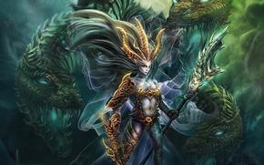Обои магия, драконы, фэнтези, существа