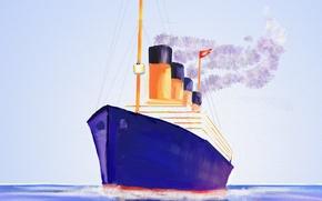 Картинка картина, корабль, Титаник, полотно, морской пейзаж, лайнер