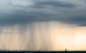 Картинка облака, город, дождь