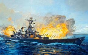 Картинка рисунок, арт, USS, New Jersey, ВМС США, американский линкор типа «Айова», BB-62