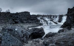 Обои водопад, вода, скалы, пейзаж